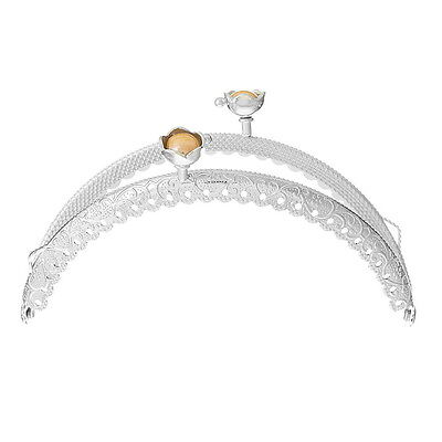 1 Metal Frame Kiss Clasp Arch For Purse Bag Silver Tone Yellow Resin Ball GIFT$$