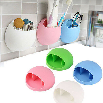 Home Wall Suction Cup Toothbrush Rack Toothpaste Holder Stand Storage Organizer