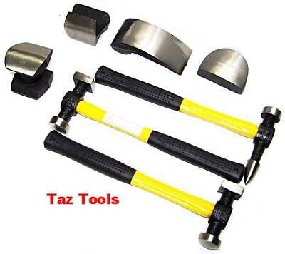 7pc Body Fender Auto Dent Repair Tool Kit Hammer Dolly Fiberglass Handle