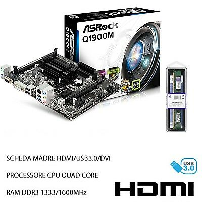 Kit Scheda Madre Hdmi Usb 3.0 Dvi, Processore Cpu Intel Quad Core + Ram Ddr3 4Gb