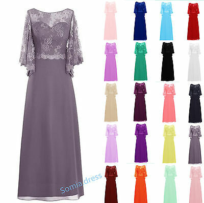Mother of the Bride/Groom Dresses Chiffon Lace Sleeved Evening Formal Size 6-20