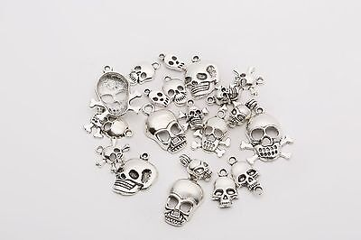 Whole Mixed 40pcs Tibetan Silver Skull Charms Pendant Jewelry Making Findings