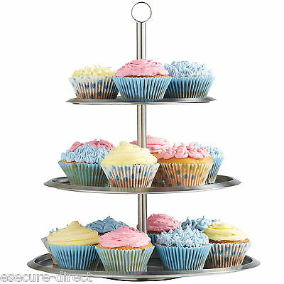 VonShef 3 Tier Cake Stand Stainless Steel Cupcake Party Display Holder