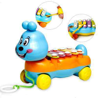Baby Kids 5-Note Xylophone Cute Pull-Along Musical Development Colorful Toy Gift