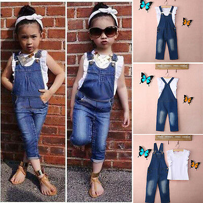 Vest+Jeans Baby Girls Summer Clothes Casual Dungarees Denim 2pcs Outfits 2-7Y