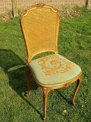 Louis Philippe Antique Chair Gobelin Seating Cane Rush back Carved Wood