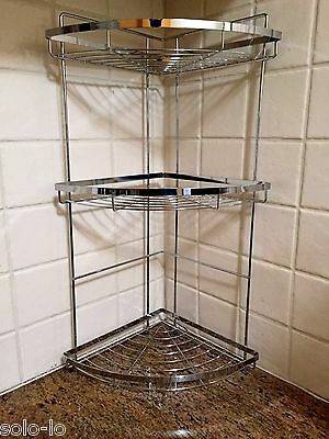 3 Tier Chrome Steel Corner Shelf Shelves Organiser Bath Shower kitchen Rack New