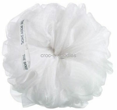The Body Shop WHITE Bath Shower Puff Lily Wash Scrunchie Sponge Polisher - BNWT