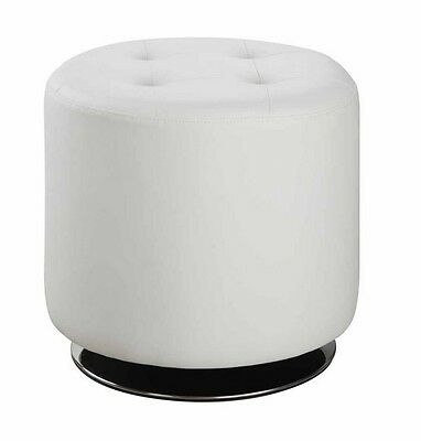 White Tufted Leatherette Swivel Ottoman with Chrome Base by Coaster 500554