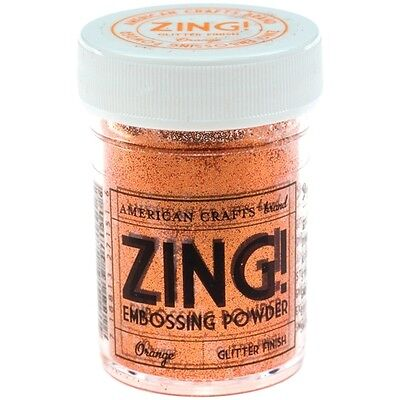 ZING EMBOSSING POWDER FLUORESCENT BY AMERICAN CRAFTS 1oz JAR ~NEON ORANGE