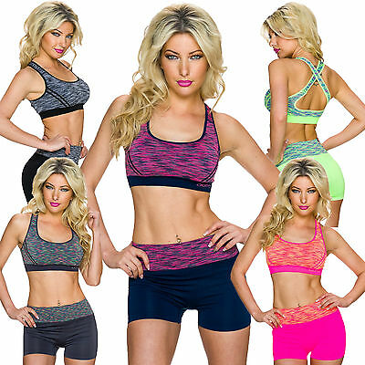 Damen Set Funktions Sport BH Top Shorts S 32 34 36 Fitness Hot Pants Work out