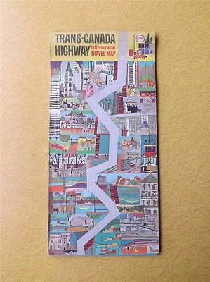 Map Esso Trans-Canada Highway Interprovincial Travel Imperial Oil Advertise 1964