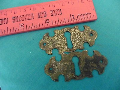 2 vintage escutcheons key holes furniture drawer trunk door brass etched vines