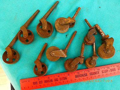 LOT of 10 vintage casters wooden wheels & cast iron wood wheel different sizes