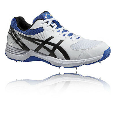 ASICS 100 Not Out Junior White Blue Cricket Sports Shoes Trainers Pumps