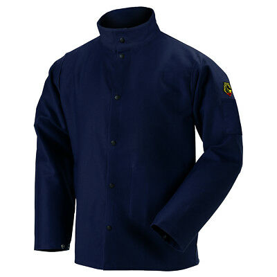"Revco 30"" 9 oz Cotton FR Flame Resistant Navy Welding Jacket Size Small"