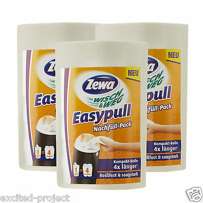 3 x Zewa Wisch & Weg EasyPull Refill For Mobile Paper Dispenser 3 Roll - Germany