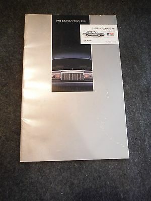 1991 Lincoln Town Car Sales Brochure Booklet
