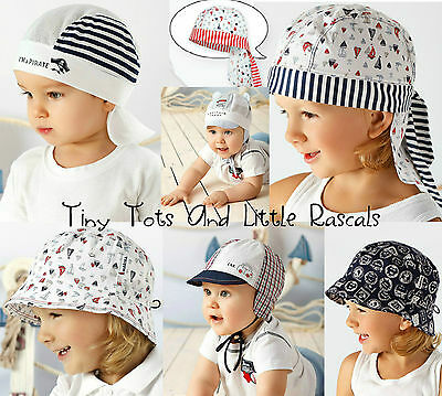 Baby Boys Toddlers Marine Style Holiday Beach Summer Hat Cap Sizes 0 - 4 years