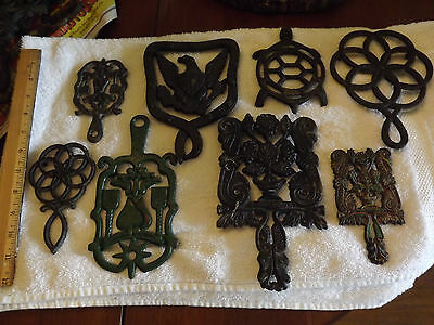 LOT of 8 Black Wrought Iron Trivets/Some vintage/wallhanging/Kitchen/LOT 1