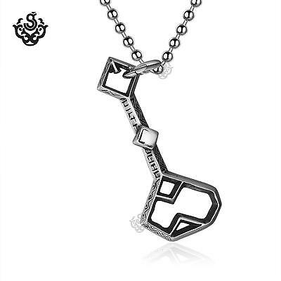 Silver pendant black crystal key stainless steel ball chain necklace soft gothic
