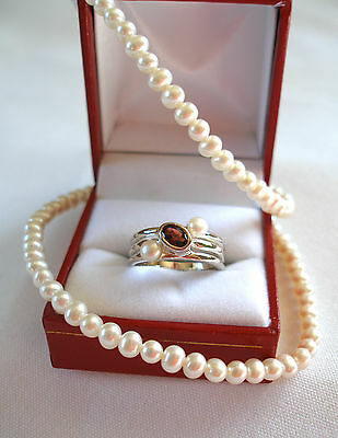 SET- .55 Ct. Garnet & Pearl Sterling Silver Ring & Strand of Pearls