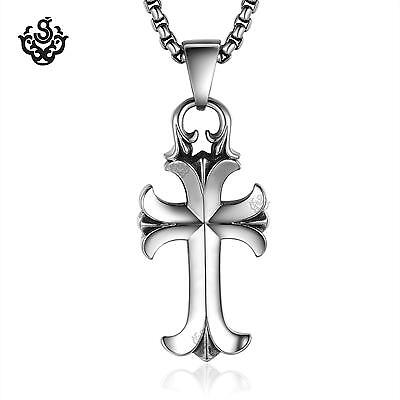 Silver funky cross pendant stainless steel chest necklace soft gothic