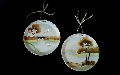 """Occupied Japan Hand Painted Wall Decor Hanging Plates Signed K. Itow 4"""" Oriental"""