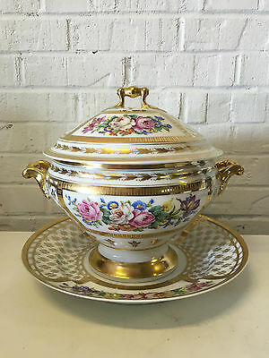 Antique French Old Paris Porcelain Lidded Tureen / Punch Bowl w/ Underplate