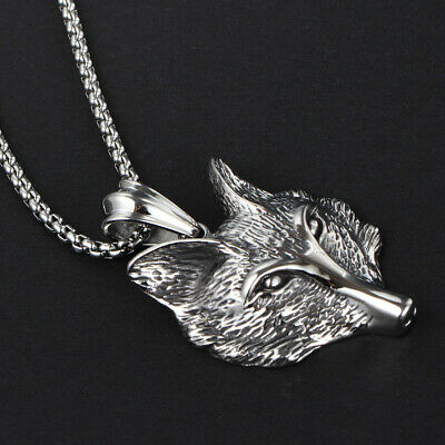 Clever Men's Fox Head Pendant Chain Necklace 316L Stainless Steel Silver Black