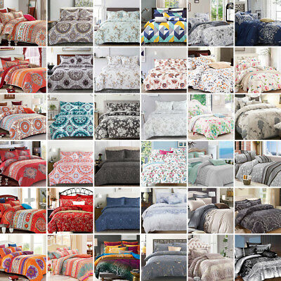 Quilt Duvet Doona Cover Set - Queen/Super/King Size Modern Pattern Bedding M5