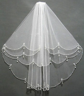 NEW 2T Elbow Beaded Edge Pearl white / ivory Bridal WEDDING Veil with comb