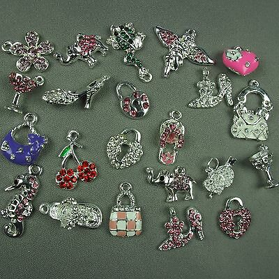 10 x Silver Plated Diamante Pendant Charms Jewellery Making Craft LIMIITED STOCK
