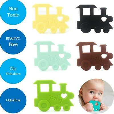 Silicone Baby Teething Pendant Toy Train Teether Pacifier Soother Bpa-Free Beads