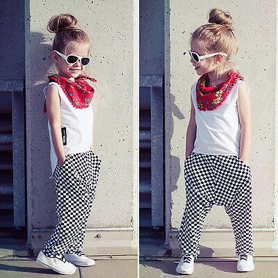 2pcs Kids Baby Girls T-Shirt + Long Pants Set Casual Clothes Outfits Size 2-7Y