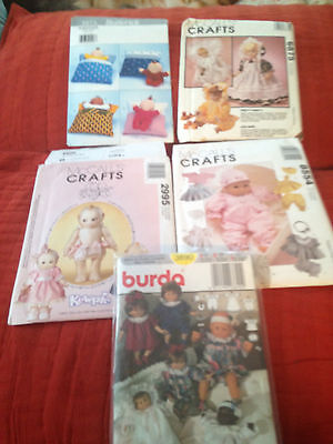 Lot Of 5 Older Doll Clothes Patterns - Kewpie & More
