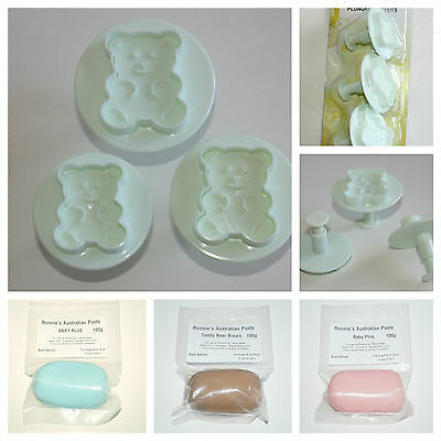 Teddy Bear Plunger Cutter Set, Plunger Cutters with 3 Modelling Pastes