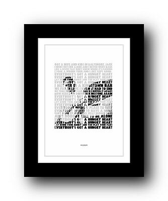 ❤  BRUCE SPRINGSTEEN Hungry Heart ❤ song lyric poster art typography Print #17