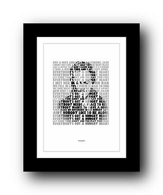 ❤  BRUCE SPRINGSTEEN Hungry Heart ❤ song lyric poster art typography Print #18