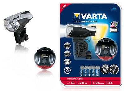 fahrradbeleuchtung set varta bike light set led batteriebetrieben silber schwarz eur 31 15. Black Bedroom Furniture Sets. Home Design Ideas