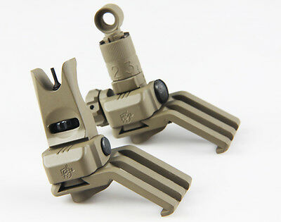 Metal KAC Style 45 Degree Offset Front and Rear Folding Sight Set DE for Airsoft