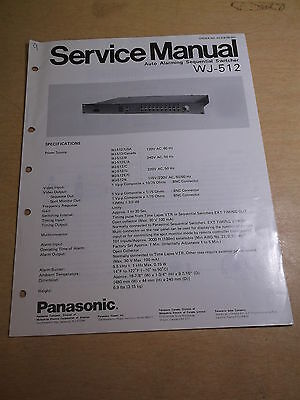 Panasonic Auto Alarming Sequential Switcher WJ-512 Service Manual *FREE SHIP*