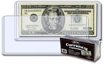 BCW Paper Money Bill Protector Currency Topload Holder for Regular Bills Qty: 25