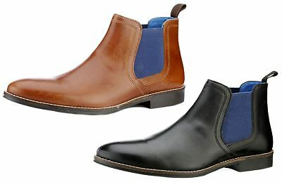 Red Tape Mens Stockwood Leather Round Toe Ankle Chelsea pull on Tan Black Boots