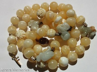 Antique Vintage Chinese Necklace Yellow Onyx Agate Carved Jade Netsuke Zodiac