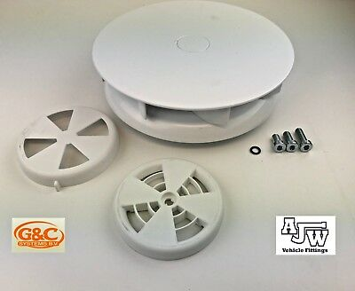 2 x Rotary Wind Driven Roof Air Vent WHITE Van Horsebox Vehicle 4x4 Low Profile