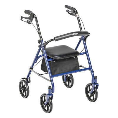 Drive Medical Blue Rollator Folding Walker Adult 4 Wheels 10257BL ~NEW Free Ship
