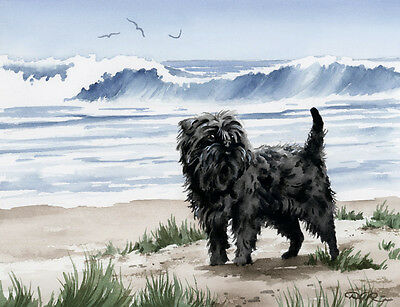 AFFENPINSCHER AT THE BEACH Watercolor 8 x 10 ART Print Signed by Artist DJR
