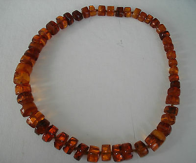 """Natural AMBER necklace Cognac graduated discs on 29"""" cord. Inclusions. Tested"""