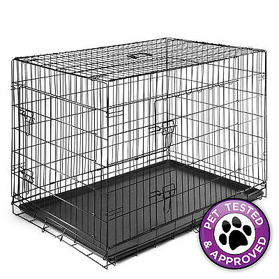 """42"""" Dog Cage Crate Suitcase Folding Kennel Pet Puppy Animal Pen ABS Tray Pan"""